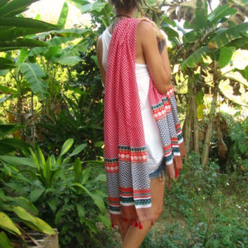Boho Fashion Tassel Scarf Shawl Stole Wrap Sarong Beach Hippie Surfer Travel | eBay