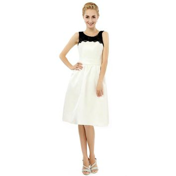 New Arrival Satin A Line Lace Scoop Neck Short Mother Of The Bride Dress Knee Length Party Gowns