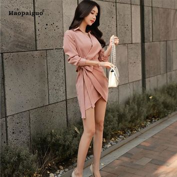 2018 Summer Sheath Dress Women Solid Asymmetrical Bandage Bodycon Dress Slim Long Sleeves V-Neck  Party Sexy Dress Club Wear