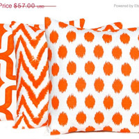 SALE Decorative Throw Pillow Covers THREE 20 x 20 Bright Orange Pillows on White Modern Prints Chevron Ikat Dots