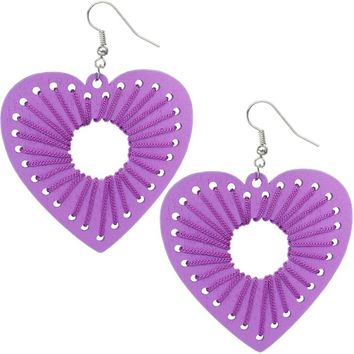 Purple Wooden Woven Heart Earrings