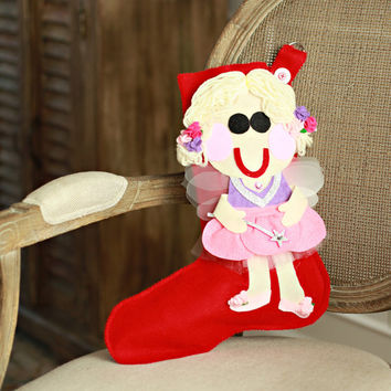 Personalized Christmas Stocking - Sugar Plum Fairy Nutcracker Ballet Christmas Stocking
