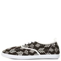 Black/White Tribal Print Canvas Sneakers by Charlotte Russe