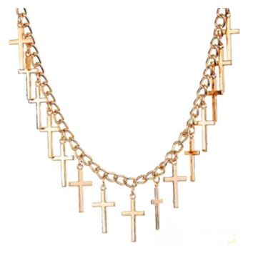 Women Fashion Jewelry Elegant Hollow Yellow Gold Filled Crosses Pendant Necklace