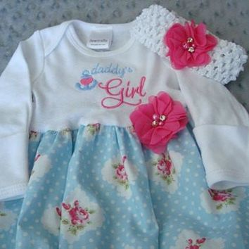 Daddy's Girl Coming Home Outfit with Head Band -NewBorn size Ready To Ship