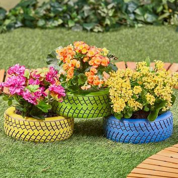 Tire Planter Realistic Sturdy Durable Resin Drainage Blue Black Yellow Green