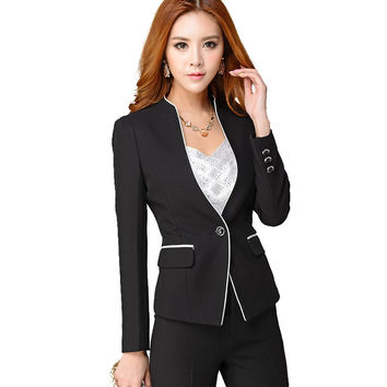 High Quality Women Formal Set Office Ladies Work wear Female Pant Suits elegant business uniform style 2 pieces trouser suit