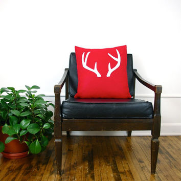 Red and White Antlers Decorative Pillow Cover