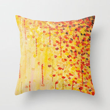 WHEN IT FALLS Bold Autumn Winter Leaves Abstract Acrylic Painting Christmas Red Orange Gold Gift Throw Pillow by EbiEmporium | Society6