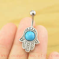 bellybutton jewelry, Hamsa Hand Belly Button Rings, turquoise navel Jewelry,friendship bellyring,bff gift