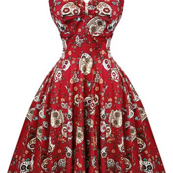 Atomic Red Candy Skull Dress with Cap Sleeves