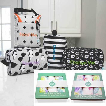 Easy Baby Travelers Starter Set , 3 Pack Swaddles and 3 Pack Burp and Bib Combo Bundle