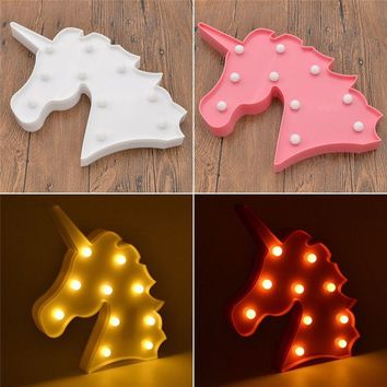 3D LED Unicorn Night Light, Romantic Night Table Lamp Home Christmas Birthday Party Decoration for Valentine Gift Kids' Room Dec