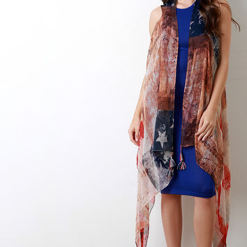 Faded Stars And Stripes Tassel Poncho