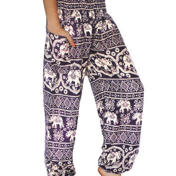 Purple Elephant Harem Pants