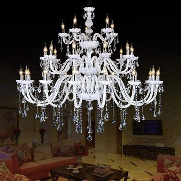 indoor lamp large Chandelier Crystal K9 LED chandelier Double Staircase Spiral Staircase Lights ceiling chandeliers living room
