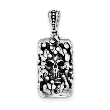 Sterling Silver Antiqued Skull Pendant