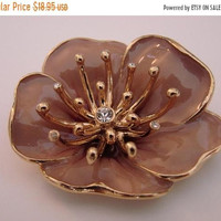 SALE Vintage Monet Floral Brooch Pin * Mauve * Gold Tone * Rhinestone * Dimensional * Jewelry * Jewellery