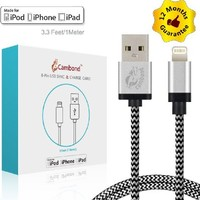 Cambond® 3.3ft 8 Pin Nylon Braided USB Charger and Data Sync Cable for iPhone 5 5s 5c 6 6 plus iPad Air mini mini2, iPad 4th generation, iPod 5th generation,iPod nano 7th generation(Silver)