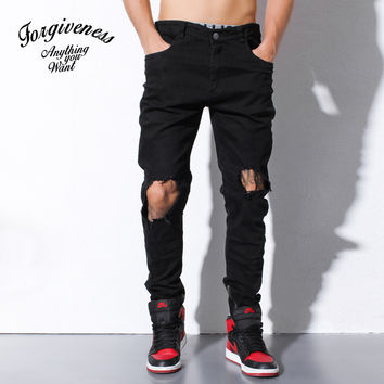 Ripped Holes Winter Men's Fashion Jeans [8822207939]