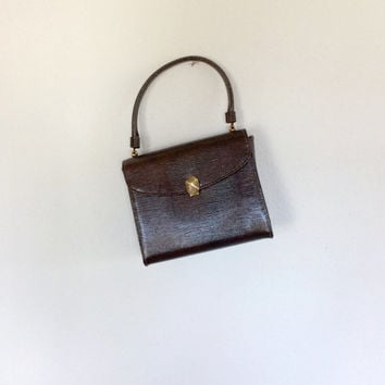 60s Handbag / Faux Lizard Handbag / 60s Structure Bag / Vintage Pocketbook / Brown Lizard / Vinyl Handbag