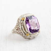 Antique 14k White Gold Amethyst & Seed Pearl Ring - Size 5 Vintage Filigree Yellow Gold Floral Accents Art Deco 1920s Fine Jewelry
