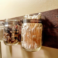 Rustic Mason Jar Bathroom Organizer