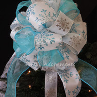 Turquoise Silver Snowflakes Tree Topper Bow Blue Snowflakes Tree Bow Frozen Christmas Decor Winter Wonderland Bow Snowflakes Gift Bow
