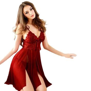 2017 New Summer Sexy Lingerie Women Underwear Babydoll Sleepwear Lace Dress G-string Nightwear Female Vestidos Black Red