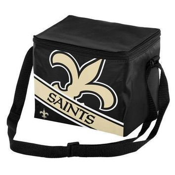 NFL New Orleans Saints Big Logo Striped 6 pack Cooler Lunch Box Bag Insulated