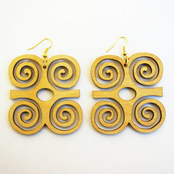 NEW!! Earrings wood: Adinkra Dwennimmen, lasercut birch plywood, topcoated, african, symbol humility together with strength
