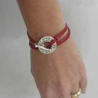 Red Leather Kabbalah Bracelet - 925 Sterling Silver With ALD Charm - Provide Blessing& Protection FREE SHIPPING