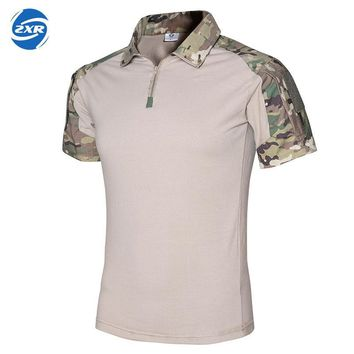 New Summer Camouflage Tactical T Shirt For Men Outdoor Hunting Turn-down Collar Short Sleeve T-shirts Coolmax T Shirts Men