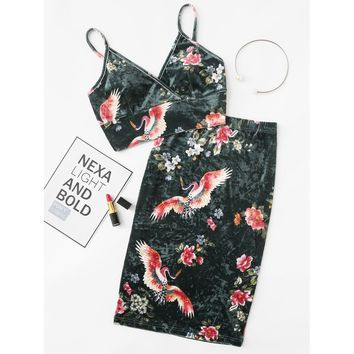 Floral Velvet Bralette Top & Pencil Skirt Co-Ord