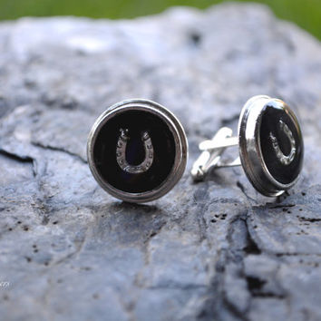 Silver Horseshoe Cuff Links - Lucky Cuff Links - Gift For Men - Silver Cuff Links - Mens Jewelry - Horseshoe Cuff Links