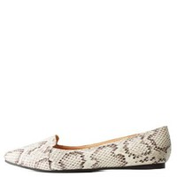 Snake Patterned Pointed Toe Loafers by Charlotte Russe