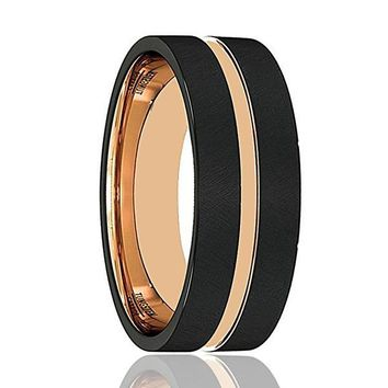 Men's Black Tungsten Carbide Ring With Rose Gold Inlaid Groove & Inside 8mm