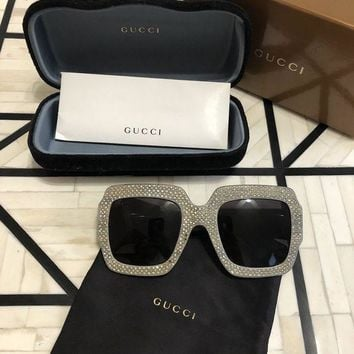 PEAPON Authentic Gucci GG 0048S Crystal Rhinestone Silver Women Sunglasses Pre-Owned