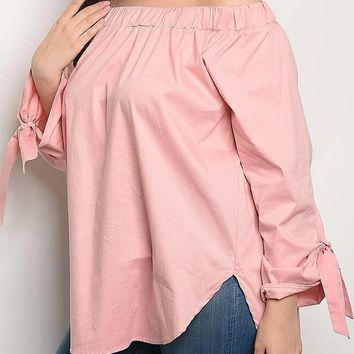 Off Shoulder Long Sleeve Ruched D Plus Size Poplin Tunic Top
