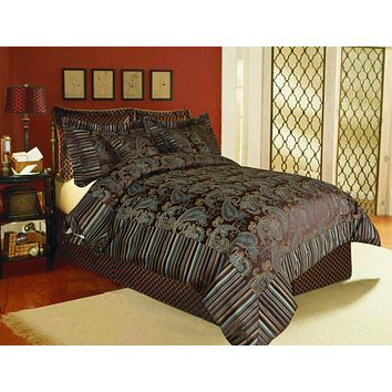 Tache 6 Piece Eastern Spring Paisley Chenille Comforter Bedding Set With Zipper (14070)