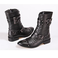 Gothic Punk Alternative Motorcycle Men's Boots