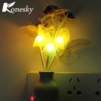 Novelty US Plug Night Light Induction Dream Mushroom Fungus LED Lamp 3 LEDs Mushroom Lamp led night lights Luminaria