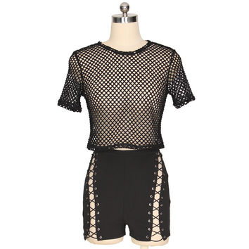 Black Sheer Mesh Top and Side Lace-Up Shorts