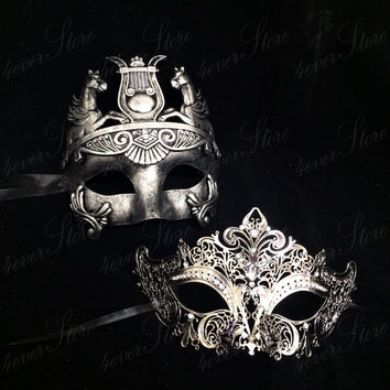 Phantom Masquerade Masks [Platinum/Silver Themed] - Bestselling Platinum Roman Mask and Silver Metal Masquerade Mask with Diamonds