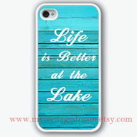 iPhone 4 Case, iphone 4s case, life is better at the beach iphone case, wood graphic white iphone 4 case