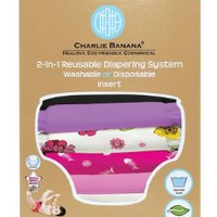 Charlie Banana 2-in-1 Reusable Diapering System, 6 Diapers plus 12 Inserts, Sassy Pack, One-Size