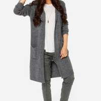 Coming Up Cozy Grey Oversized Hooded Sweater