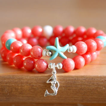 Ocean Gemstone Bracelet, Sea Starfish jewelry, for Beach, Coral Jade, Boho, Bohemian, Sterling silver Mermaid, stretch bracelet