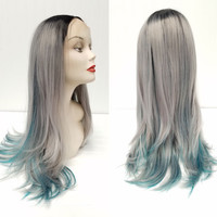 OOAK Front Lace Free Part Black Teal Blue Silver Grey Ombre Wig Adjustable Cap