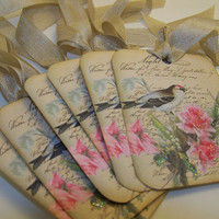 Bird Tags - Vintage Shabby Style - Pink Roses - Collage - Set of 6
